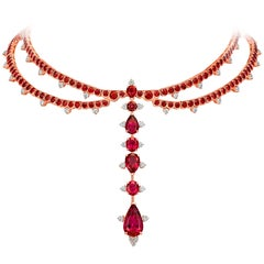Rose Gold, White Diamonds Mozambican Ruby and Rubellite Choker Necklace