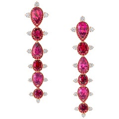 Rose Gold White Diamond Mozambican Ruby and Rubellite Dangle Stilettos Earrings