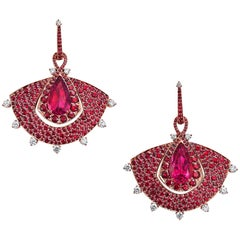 Rose Gold, White Diamonds, Mozambican Ruby and Rubellite Dangle Earrings
