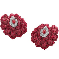 Rose Gold, White Diamonds and Mozambican Rubies Flower Cuff Earrings