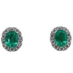 Gregg Ruth 3.10 Carat Emerald and Diamond White Gold Earrings