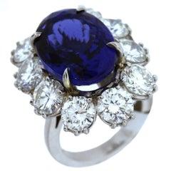 12 Carat Tanzanite Diamond Platinum Ring