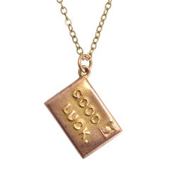 "Antique Edwardian ""Good Luck"" Gold Envelope Charm"