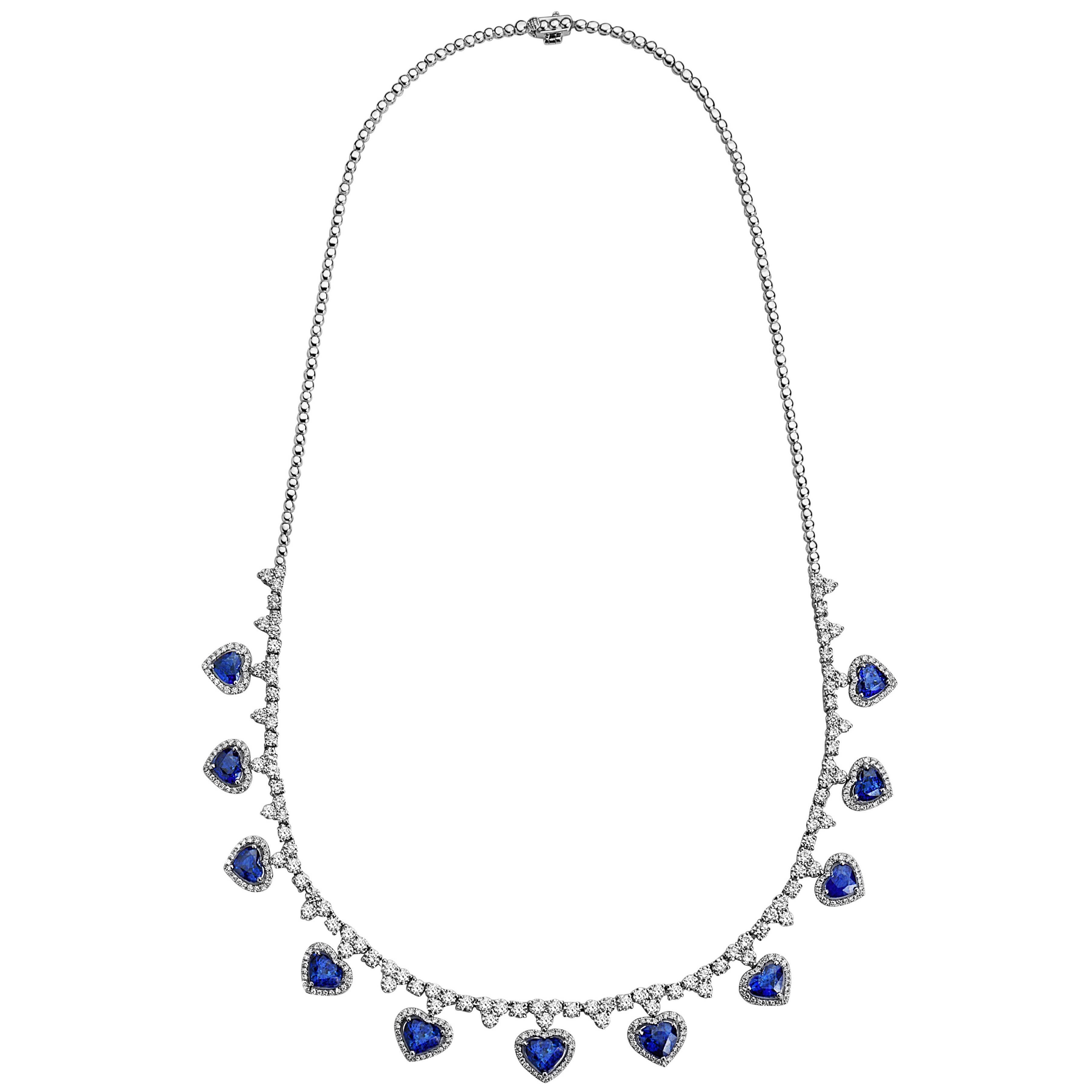Emilio Jewelry 18.96 Carat Heart Shaped Sapphire Diamond Necklace