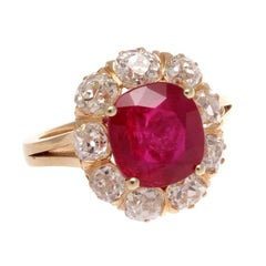 Victorian 3.71 Carat Burma No Heat Ruby Diamond Gold Ring