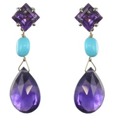 Baume Amethyst Turquoise 18 Carat White Gold Dangle Earrings