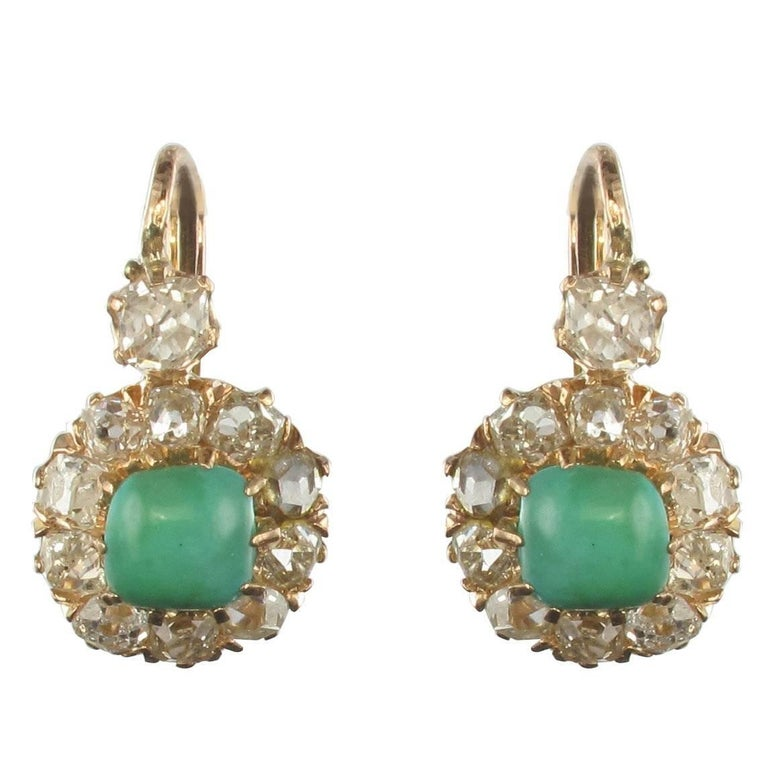 19th Century 2.20 Carat Diamond Natural Turquoise Drop Earrings