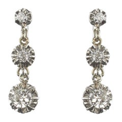 French 1900s Belle Époque Gold Platinum Diamond Dangle Earrings