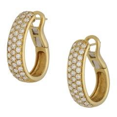 18 Karat Gold Diamond Hoop Earrings