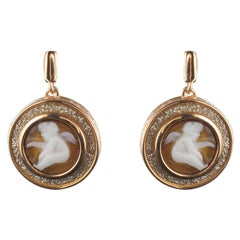Italian Romantic Style Angel Shell Cameo Crystals Earrings