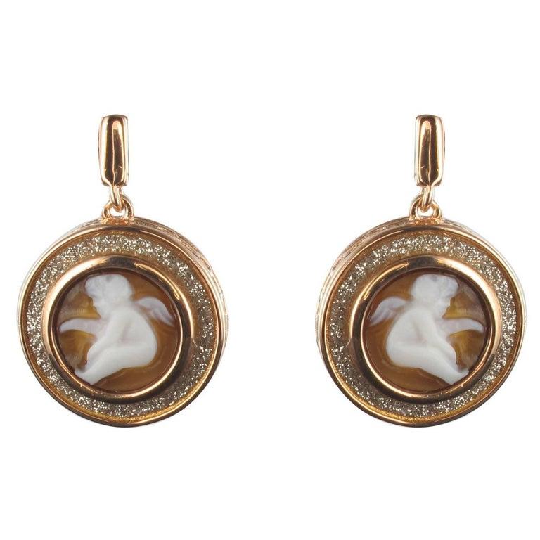 Italian Romantic Style Angel Shell Cameo Crystals Earrings