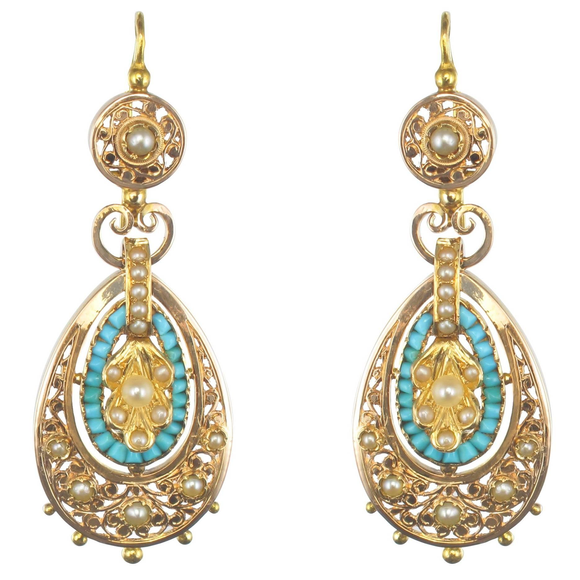 French Napoleon 3 Turquoise Natural Pearl Rose Gold Dangle Earrings