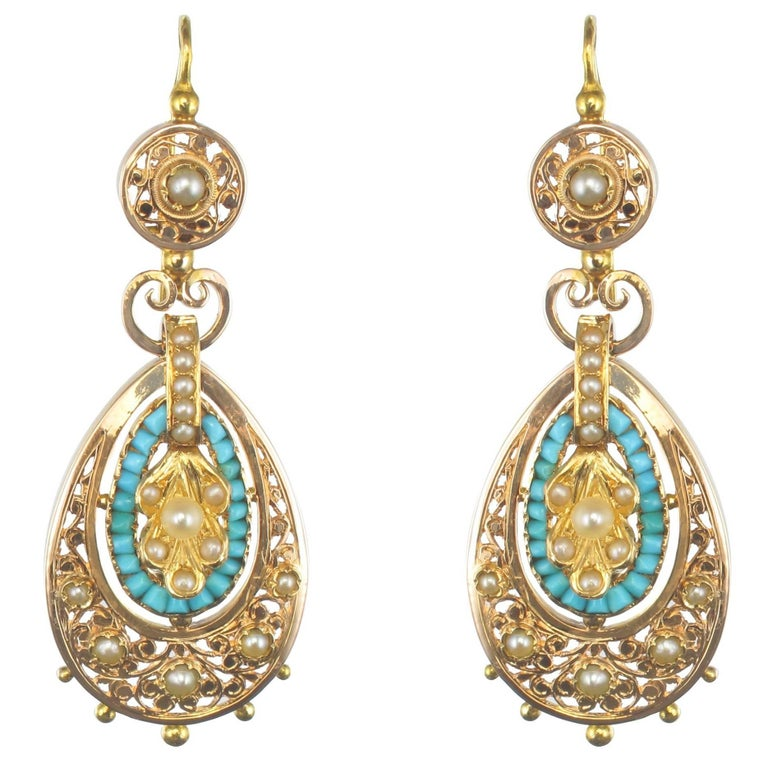 French Napoleon 3 Turquoise Natural Pearl Rose Gold Dangle Earrings For