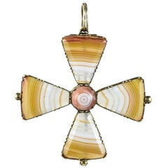 Georgian Agate Maltese Cross Pendant