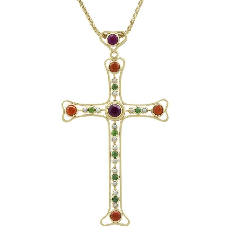 3.35 Carat Amethyst and Peridot Citrine and Seed Pearl Yellow Gold Cross Pendant