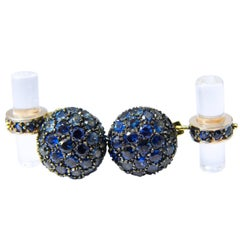 4.99 Carat Natural Blue Sapphire Rock Crystal Stick Back Black Gold Cufflinks