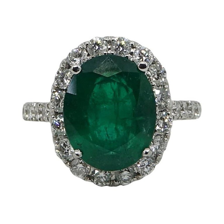5.20 Carat Oval Cut Emerald And Diamond White Gold