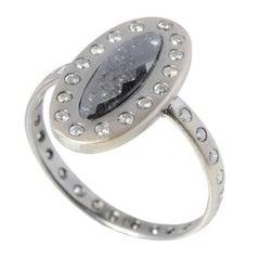 Sweet Pea Black Diamond White Gold Engagement Ring with Salt & Pepper Diamonds