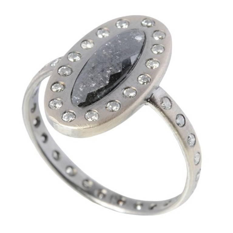 e947070cd296d Sweet Pea Black Diamond White Gold Engagement Ring with Salt & Pepper  Diamonds