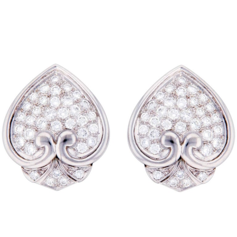 Ella Gafter Pave Diamond White Gold Spade Leaf Clip-On Earrings
