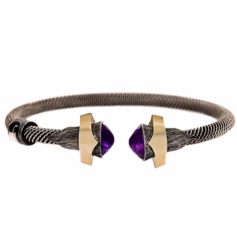 Amethyst Bracelet with Rose Gold and Silver Details