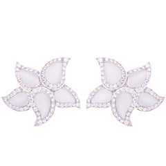 Ella Gafter Pave Diamond White Gold and Rock Crystal Star Leaf Clip-On Earrings