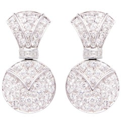 Ella Gafter Pave Diamond White Gold Drop Earrings