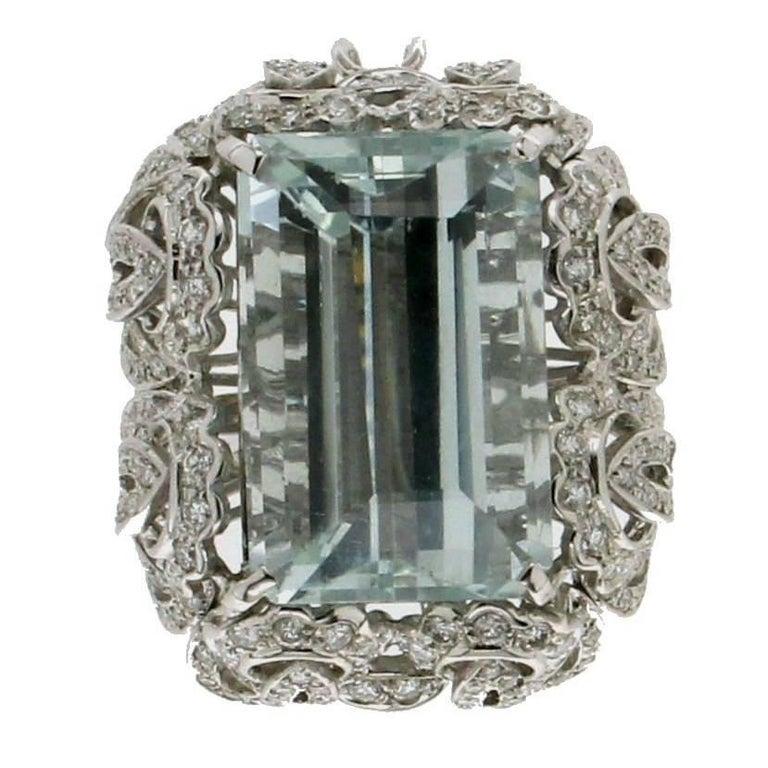 Aquamarine White Gold Diamonds Cocktail Ring