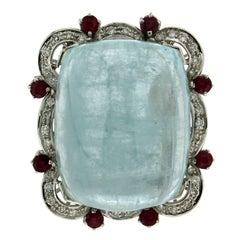 Aquamarine 18 karat White Gold Diamonds Cocktail Ring