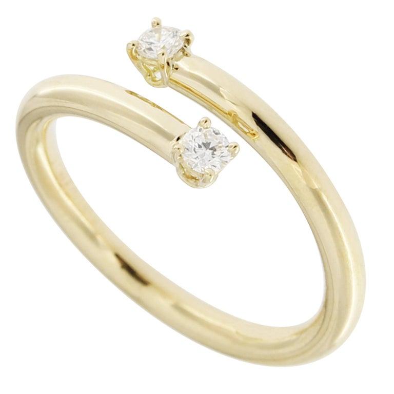 Jona White Diamond 18k Yellow Gold Crossover Ring
