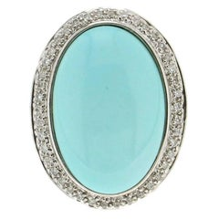 Turquoise White Gold Diamonds Cocktail Ring