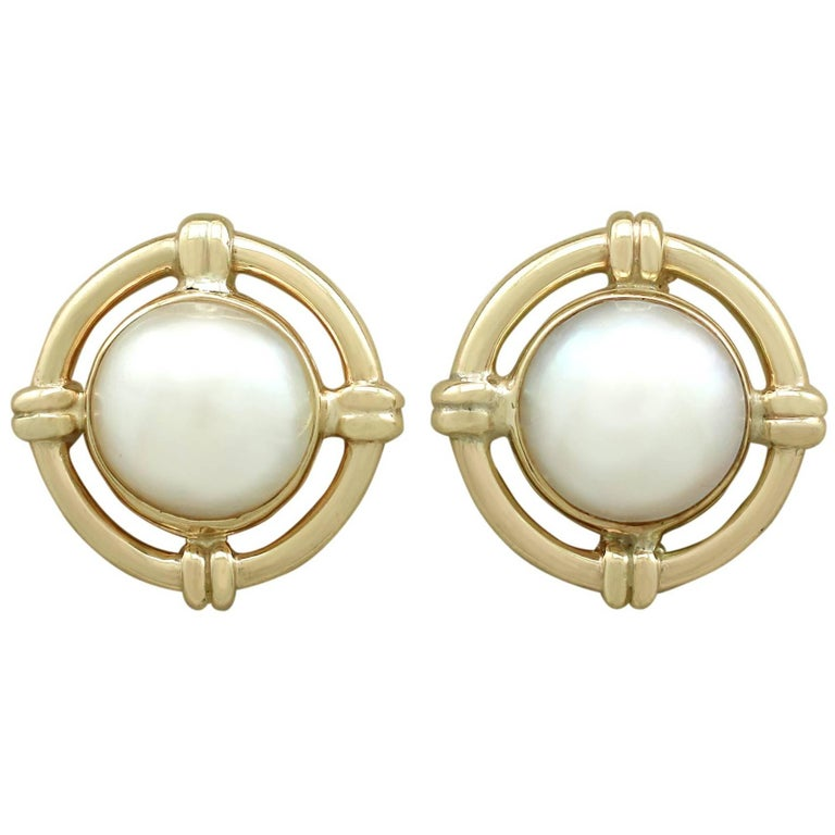 1992 Vintage Mabe Pearl and Yellow Gold Stud Earrings