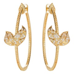 Nadine Aysoy Petite Feuilles 18 Karat Gold, Diamond and Sapphire Hoop Earrings
