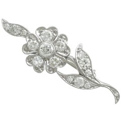 1920s Antique Diamond and White Gold Flower Brooch by 'Hennell'