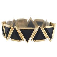 Early Retro Triangular Onyx Link Bracelet