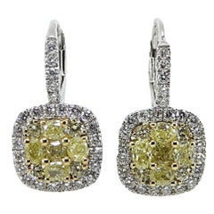 Fancy Yellow Diamond and White Diamond Dangle Earrings