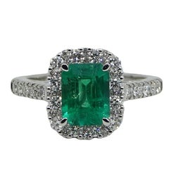 Emerald and Diamond White Gold Engagement Ring