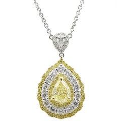 Fancy Yellow Diamond and White Diamond White Gold Necklace