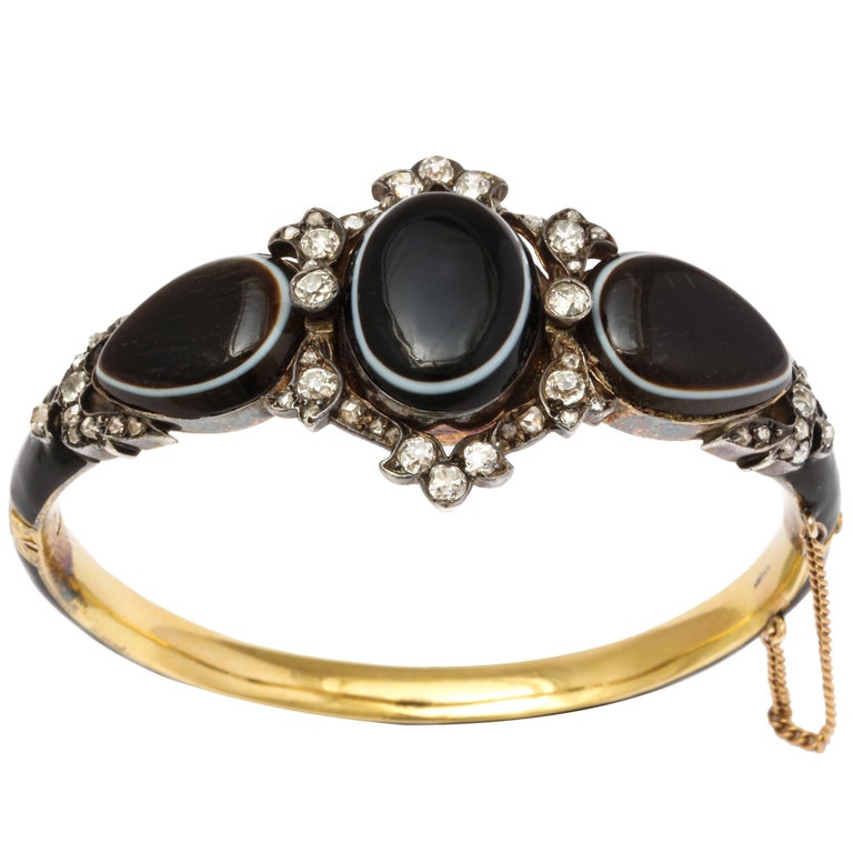 15 kt Victorian Diamond and Banded Agate Enamel Bracelet  For Sale