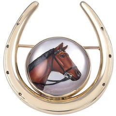 Horseshoe Gold Pin with Essex Crystal