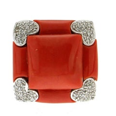 Sardinian Coral White Gold Diamonds Cocktail Ring