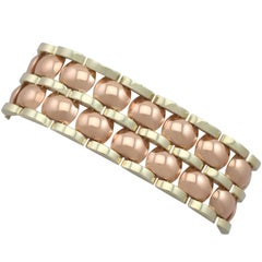Vintage Art Deco Style 14 Karat Rose Gold 14 Karat Yellow Gold Bracelet