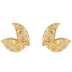 Nadine Aysoy Petite Feuilles 18 Karat Gold and Yellow and White Stud Earrings