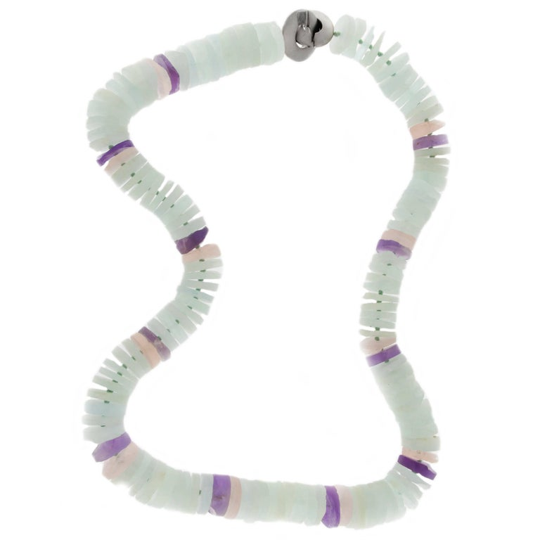 Jona Aquamarine Amethyst Rose Quartz Rondelle Necklace