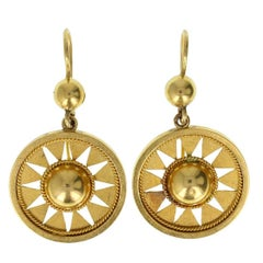 Antique Victorian Etruscan Style Star Burst 15 Carat Gold Drop Earrings