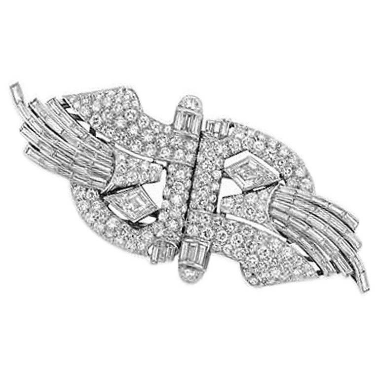 1930s Art Deco Diamond and Platinum Double Clip Brooch