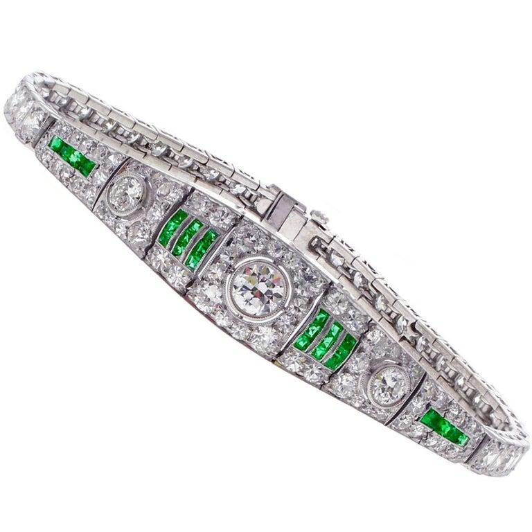 Art Deco Emerald and Diamond Platinum Bracelet