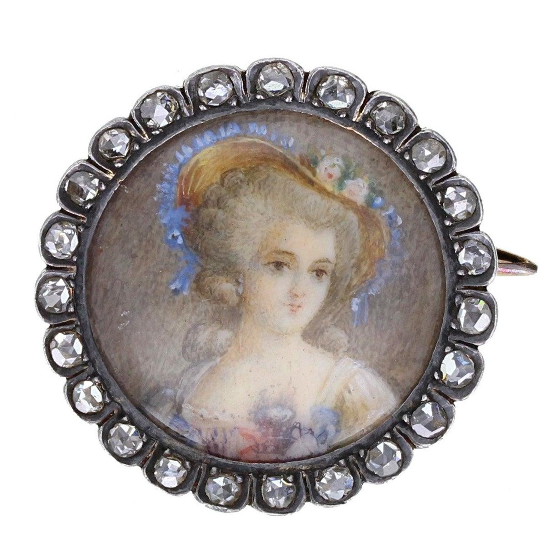 Antique Victorian Silver Gold Rose Cut Diamond Portrait Brooch