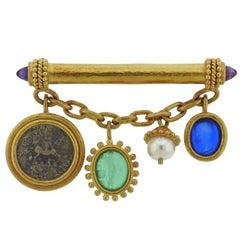 Elizabeth Locke Intaglio Coin Pearl Gold Charm Brooch