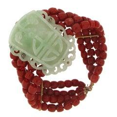 Coral Yellow Gold Jadeite Cuff Bracelet